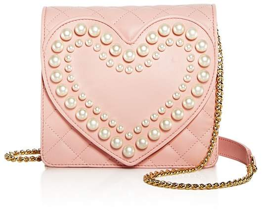 MoschinoBoutique Moschino Heart Faux-Pearl Leather Shoulder Bag