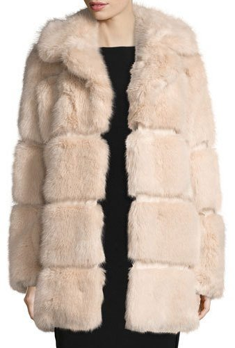 Kate Spade Kate Spade New York Banded Faux-Fur Coat, Champagne