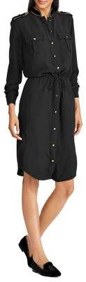 Lauren Ralph Lauren Velvet-Trimmed Long-Sleeve Shirtdress