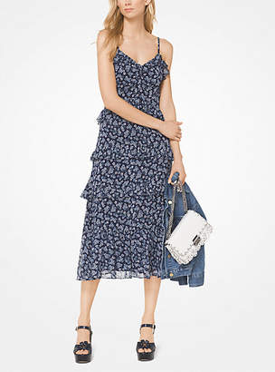 Michael Kors Ruffled Floral Georgette Dress