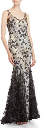 Badgley Mischka Navy Floral Lace Mermaid Gown