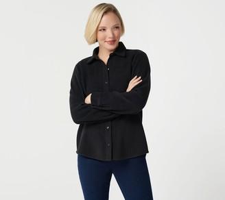 Denim & Co. Fleece Button Front Long-Sleeve Top