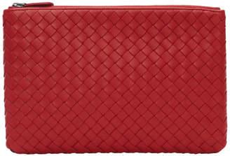 Bottega Veneta Red Small Intrecciato Biletto Pouch