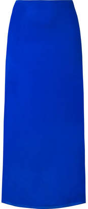 The Row Stratski Washed Silk-charmeuse Midi Skirt - Bright blue