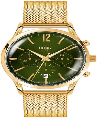 Gents Henry London Chiswick 41mm Gold Stainless Steel Mesh Bracelet Strap Watch with Gold Stainless Steel Casing