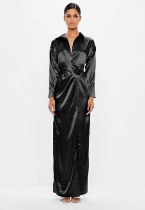 Missguided Black Satin Wrap Maxi Dress