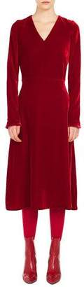 Akris Punto V-Neck Long-Sleeve A-Line Velvet Midi Dress