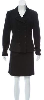 Chanel Double-Breasted Wool Skirt Suit Black Double-Breasted Wool Skirt Suit