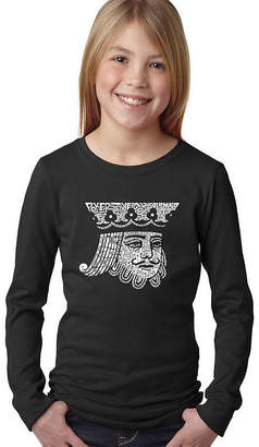 LOS ANGELES POP ART Los Angeles Pop Art King Of Spades Long Sleeve Girls Word Art T-Shirt