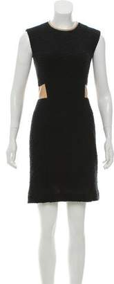 Rebecca Taylor Leather Trimmed Textured Mini Dress