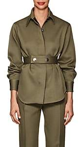 Victoria Beckham Women's Wool Twill Shirt Jacket-Military Green
