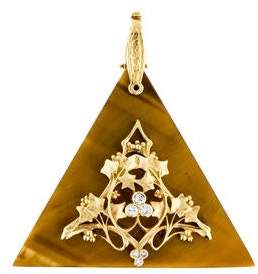 Tiger's Eye & Diamond Triangle Pendant
