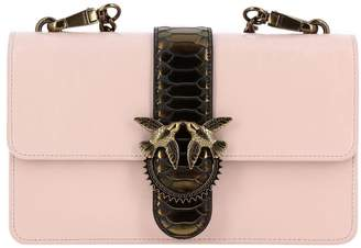 Pinko Crossbody Bags Love Bag Python Western Shoulder Bag In Vintage Leather With Maxi Metal Buckle