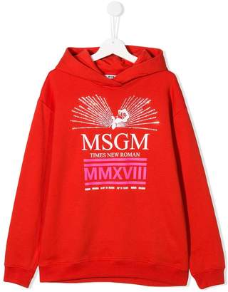 MSGM Kids TEEN embellished logo hoodie