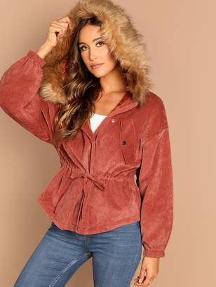 Shein Asymmetrical Hem Faux Fur Hooded Corduroy Parka Coat
