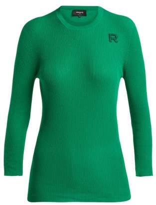 Rochas Logo Applique Ribbed Cotton Sweater - Womens - Green