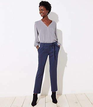 LOFT Petite Slim Tie Waist Pencil Pants in Marisa Fit