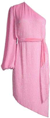 retrofete Asymmetric Sequin Belted Sheath Dress