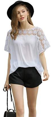 UP Ultrapink Missy Womens Short Sleeve Blouse Crochet Insert at Sleeve/Shoulder