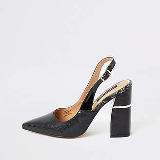 River Island Black slingback block heel court shoes