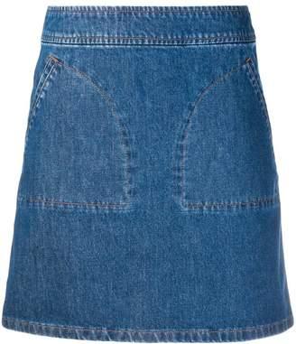 A.P.C. patch pocket denim skirt
