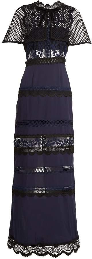 SELF-PORTRAIT Bellis lace cape-sleeved dress