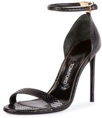 TOM FORD T-Bar Snakeskin Ankle-Strap d'Orsay Sandal, Black $1,190 thestylecure.com