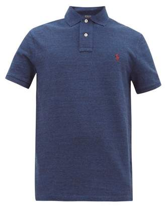 Polo Ralph Lauren Logo Embroidered Cotton Pique Polo Shirt - Mens - Blue