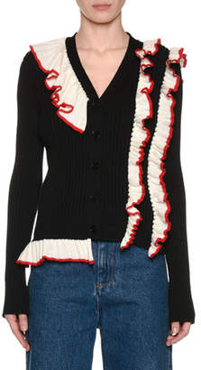 MSGM Ribbed Long-Sleeve Ruffle Button-Front Cardigan