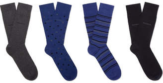 HUGO BOSS Four-Pack Stretch Cotton-Blend Socks - Men - Blue