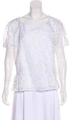 Marchesa Voyage Embroidered Short Sleeve Top w/ Tags