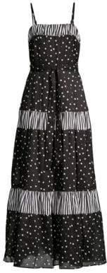 Kate Spade Daisy Dot Mixed Media A-Line Maxi Dress