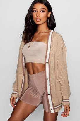 boohoo V-Neck Tipped Button Up Cardigan