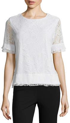 Liz Claiborne Short Sleeve Pleated Lace Top - Womens