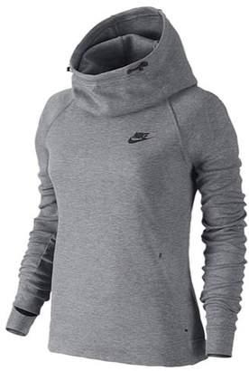 Nike Womens Tech Fleece Funnel Neck Pullover Hoodie Grey