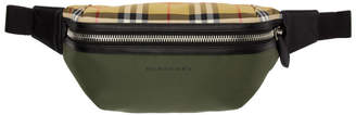 Burberry Green Medium Vintage Check Sonny Bum Bag