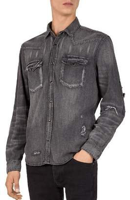 The Kooples Destroy Regular Fit Denim Shirt
