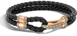 John Hardy Men's Classic Chain Braided Leather Hook Station Bracelet $350 thestylecure.com