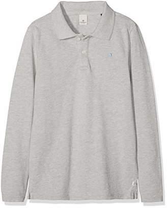 Scotch & Soda Shrunk Boy's Garment Dyed Long Sleeve Polo Shirt, (Grey Melange 606), (Size: 16)