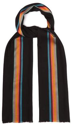 Paul Smith Artist Stripe Wool Scarf - Mens - Black