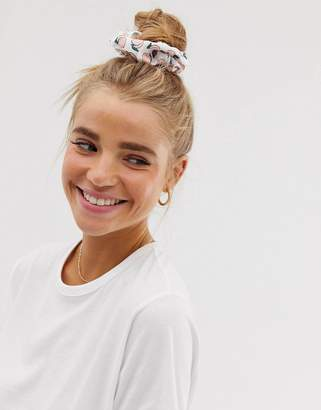 Asos Design DESIGN oversized scrunchie in peach print