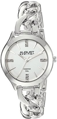 August Steiner Women 's Genuine DiamondシルバートーンCase With White Dial andシルバートーンスチールチェーンリンクブレスレット腕時計as8222ss