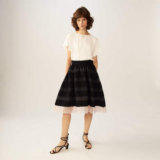Maje Basket weave and tulle midi skirt