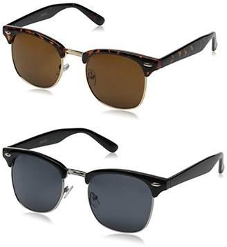 Zerouv Half Frame Semi-Rimless Horn Rimmed Sunglasses (Black-Gold/Blue Mirror)