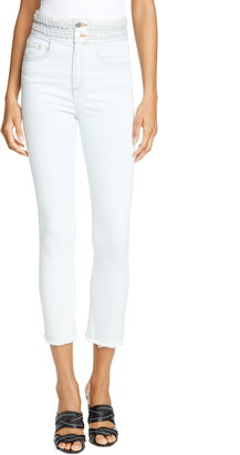 Veronica Beard Carly Braided Waist Kick Flare Jeans