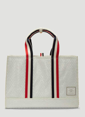Thom Browne East-West Bubble Wrap Tote Bag in White