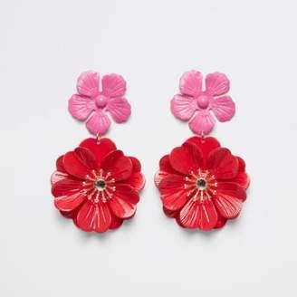 River Island Womens Red double flower stud drop earrings