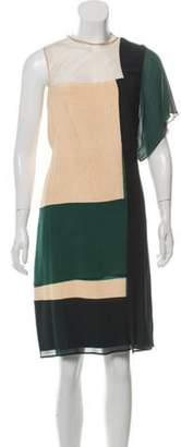 Akris One-Shoulder Silk Dress green One-Shoulder Silk Dress