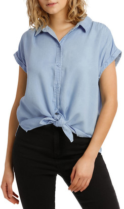 Miss Shop Chambray Tie Front Short Sleeve Shirt
