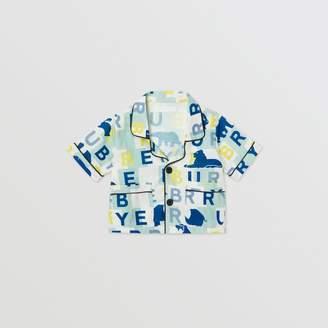Burberry Short-sleeve Logo Print Linen Cotton Shirt